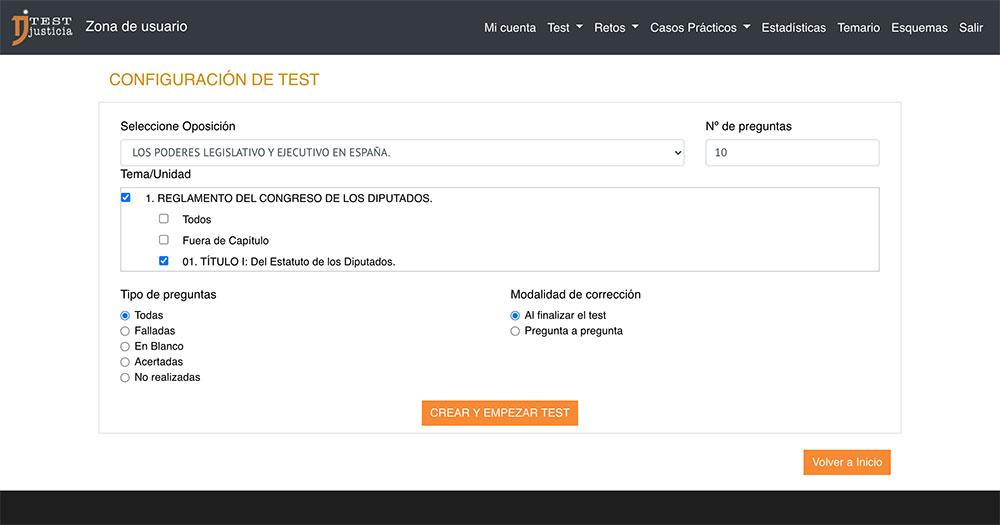 test online sobre el gobierno: los poderes ejecutivo y legislativo en el estado español
